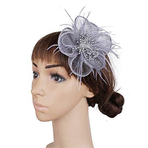 FHKGCD Ladies Headwear Wedding Hair Fascinator Headbands Feather Party Cocktail Hair Accessories Race Tea,Gray,