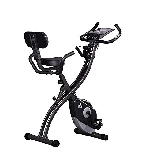 homcom Cyclette Pieghevole Magnetica con 8 Livelli di Resistenza, Monitor LCD e Altezza Regolabile, 100x54x109cm, Grigio e Nero