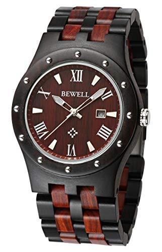 wood watches with dates Bewell ZS-W109A Mens Wooden Watch Quartz Movement Lightweight Luminous Date Vintage Analog Wristwatch