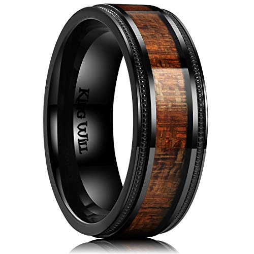 King Will Nature 8mm Titanium Ring with Wood Inlay Wedding Band Ring Real Comfort Fit 7