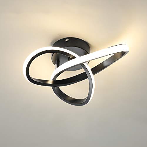 Minfair - Lámpara de techo LED moderna con geometría redonda, lámpara de techo de 4500 K para pasillo, sala de estar, dormitorio, 18 W de diámetro de 24 cm