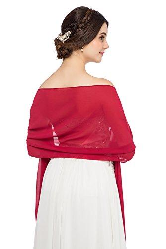 JAEDEN Stola Chiffon Schal für Brautkleid Abendkleider Ballkleider Hochzeitskleider in verschiedenen Farben 45cmx220cm Burgundy