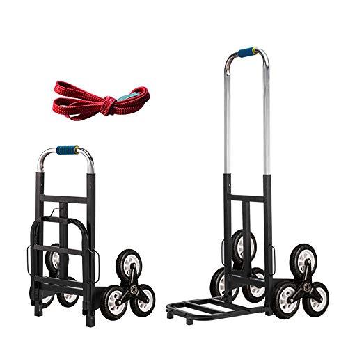 HSDCK Treppensteigwagen, Hochleistungs-Hand-LKW, tragbarer Klappwagen für den Frachttransport im Obergeschoss, Gummi-Dreiräder und verdicktes Rohr,6wheel,Big