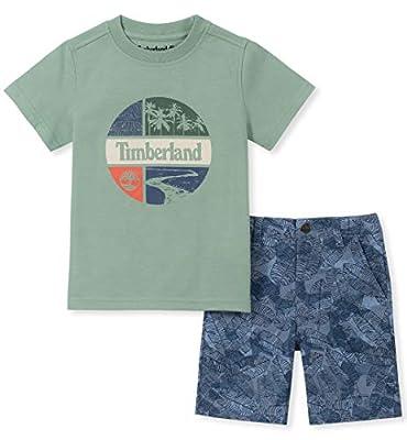 Timberland Boys' Toddler 2 Pieces Shorts Set, Green/Blue, 4T