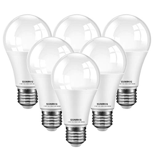 ( 6-Pack) SUNMEG A19 LED Light Bulb, 100 Watt Equivalent (11W), E26 LED Bulbs, 1050 Lumens, Daylight (5000K), 120VAC