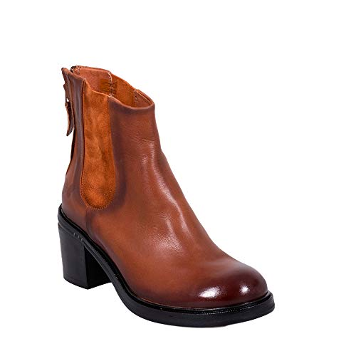 Felmini - Damen Schuhe - Verlieben Molly B493 - Reißverschluss Stiefel - Echtes Leder - Braun - 38 EU Size
