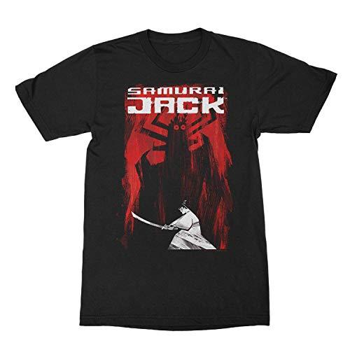 ii Cartoon Network Samurai Jack and Aku Distressed Sides Graphic T-Shirt,Camisetas y Tops(Medium)