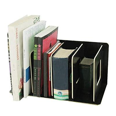 Detachable Wooden 4 Sections Storage Rack Book Shelf DIY Bookshelf Display Organizer Stationary File Holder Letter Document Magazine Paper Holder CD DVD Stand File Sorter Folding Divider Filing Rack