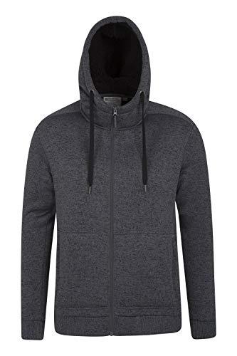 Mountain Warehouse Nevis Mens Fur Lined Hoodie - Fleece Sweatshirt Black XX-Large