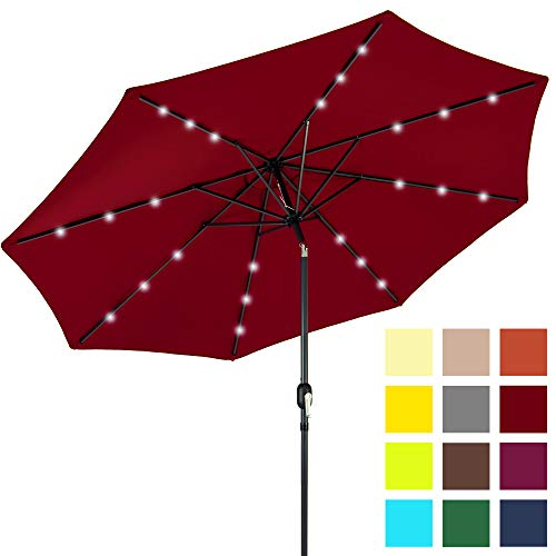 Best Choice Products 10-Foot Solar Powered Aluminum Polyester LED Lighted Patio Umbrella w/Tilt Adjustment and Fade-Resistant Fabric, Red