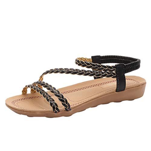 Sandalias Mujer Sandalias Mujer Verano 2019 Sandalias Planas Sandalias de Vestir Playa Zapatos Sandalias de Punta Abierta Roma Casual Sandalias Fiesta Cómodo Zapatos Tacón Alto vpass