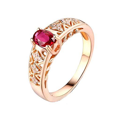 AnazoZ Anillos Mujer Rubi,Anillo Oro Rosa 18 Kilates Oro Rosa y Rojo Oval con Hueco Rubí Rojo 0.55ct Diamante 0.09ct Talla 8