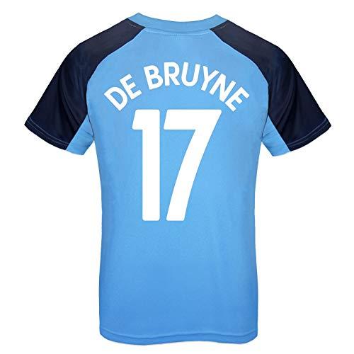 Manchester City FC - Camiseta Oficial para Entrenamiento - para niño - Azul Cielo - Escudo - De Bruyne 17-12-13 años