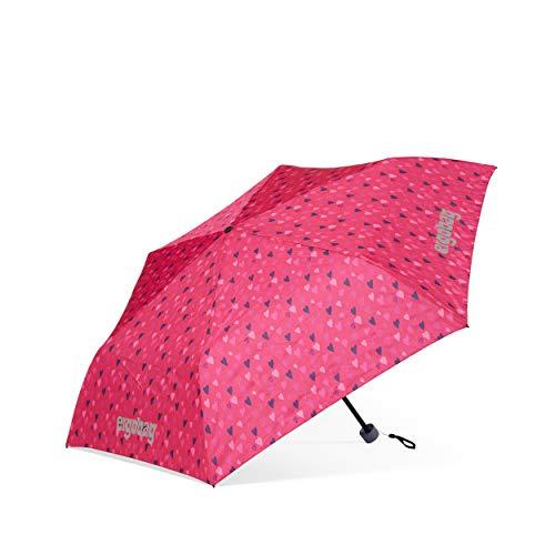 ergobag Regenschirm - Schultaschenschirm für Kinder, extra leicht mit Tasche, Ø90cm - HufBäreisen - Pink