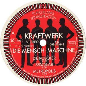 """KRAFTWERK / DIE MENSCHEN-MASCHINE / 1978 / Bildhülle mit illustrierter Innenhülle / EMI # 1C 058-32 843 / 05832843 / Deutsche Pressung / 12"""" Vinyl Langspiel-Schallplatte - 3"""