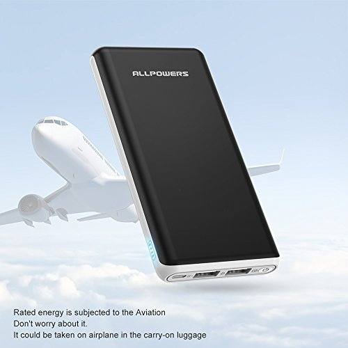 ALLPOWERS Power Bank 22000mAh Caricabatterie Portatile Batteria Esterna con 2 Porte USB per iPhone X/8/7/6s/se, iPad, Samsung, Huawei, Cellulare, Tablets