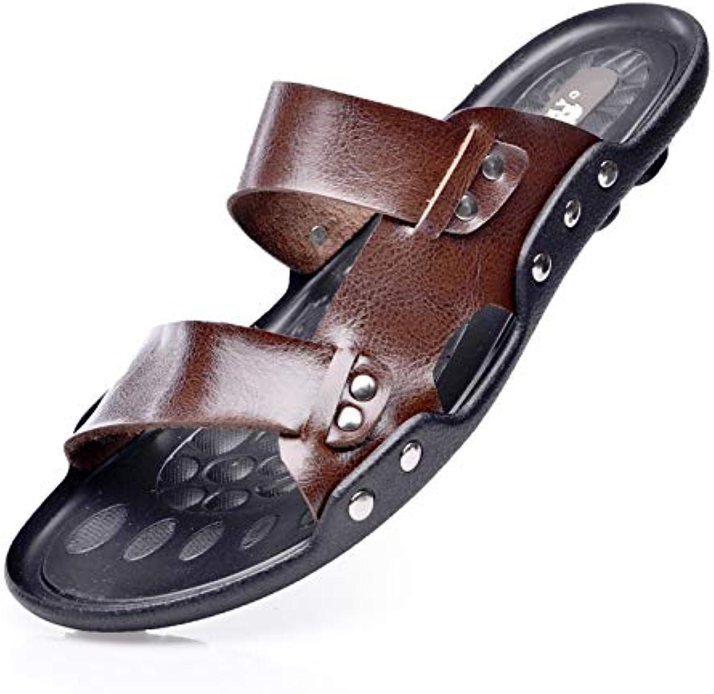 TXHLKD Summer Mens Slippers British Fashion Men Sandals Genuine Leather Lazy Beach Sandals Flip Flops Men Summer shoes 9 Brown