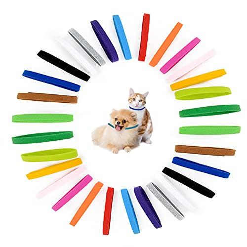 30 collares ajustables para identificación de mascotas, 15 colores de doble cara, suaves, correas suaves para collares de mascotas y perros, cachorros, perros pequeños, collares de mascotas y gatos