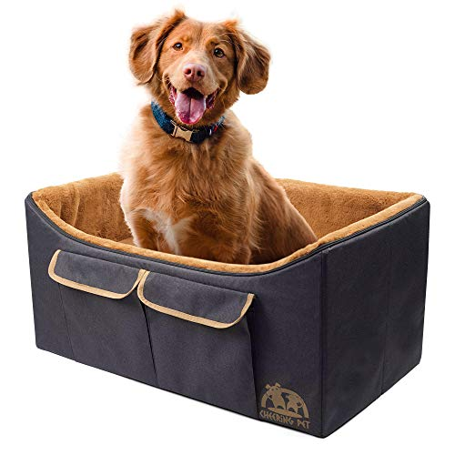 Cheering PET Large Dog Lookout Booster Seat, Dog Car Seat, Foldable Design for Easy Travel, Reversible Ultra Soft Fur Lining
