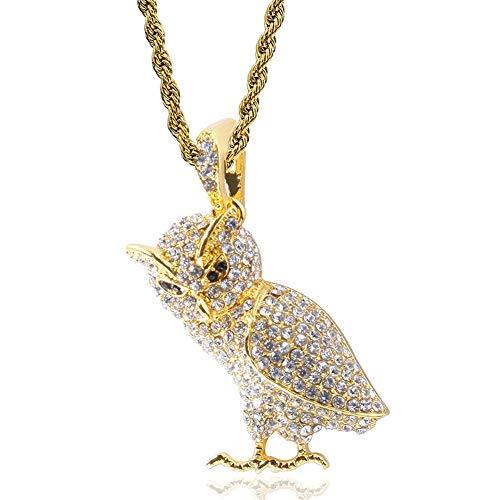 DFWY Hip Hop Iced out Bling Owl Colgante Collar para Hombres Mujeres, Hecho A Mano 18K Oro Chapado Cadena de Acero Inoxidable, Rapper Street Rock Moda Encanto Joyería (Color : Gold)