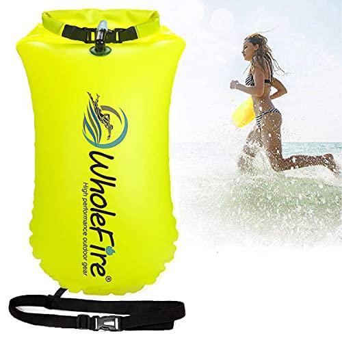 WholeFire 20 l simma boje, vattentät uppblåsbar torrväska simsäkerhet flyta för vattensporter, simmare i öppet vatten, triatleter, kajaker och snorkelers - mycket synlig bogseringsflotta, gul