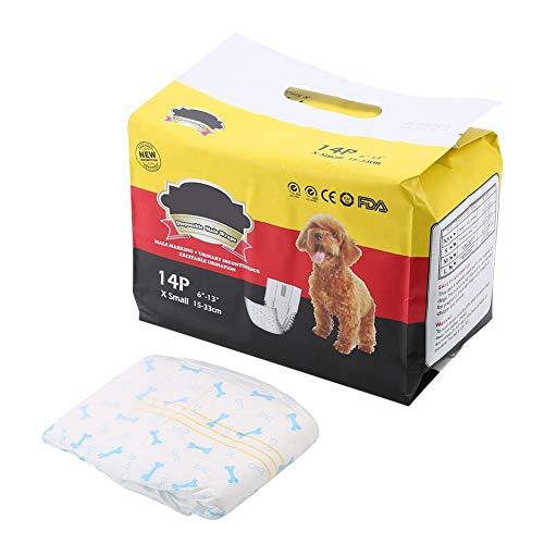 Pssopp Pañales para Perro Macho Pañales para Perros Masculinos Envoltura para Perros Pañales para Perros Cachorros para el Vientre Pañales para pañales Pañales Sanitarios Fisiológicos (XS)