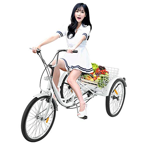 Adult Tricycle Bike 1/7 Speed 3-Wheel Bikes for Shopping W/Installation Tools, Women Cruiser Bikes Folding Three-Wheeled Bicycle Comfort Bikes Road Tricycle with Shopping Basket for Seniors,Women,Men