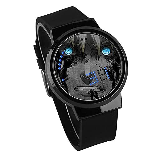 Anime Watch Naruto Kakashi Pantalla táctil LED Impermeable Reloj Digital con luz Intermitente Reloj de Pulsera Unisex Cosplay Reloj Electrónico Luminoso-A1_One_Size
