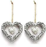 2pcs Corona de Mimbre con Forma de corazón Forma de Corazón Manualidades DIY Vides Base para Fiesta de Boda Rústica Decoración Colgante Guirnaldas Suministros (Corazón)