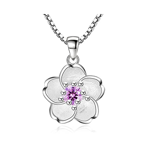 CCBZK Plata de Ley 925, joyería de Moda para Mujer Nueva, Collar con Colgante de Flor de circonita de Cristal Rosa púrpura, Longitud 45 CM