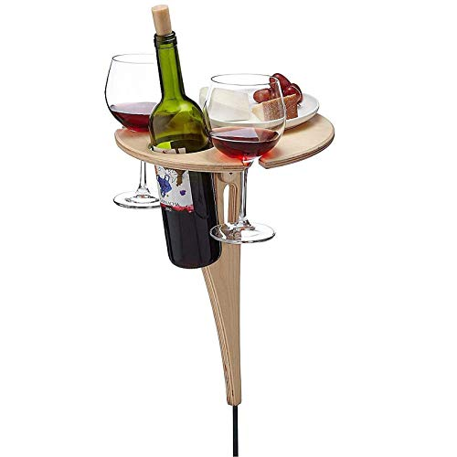 Outdoor Folding Wine Table, Portable Wine Table Picnic, Round Folding Drinks Side Garden Patio Table Small Coffee Desk, Wooden Table Beach Foldable Wine Table