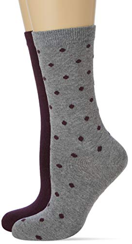 Living Crafts Socken, 2er-Pack 35/38, dark prune/dots
