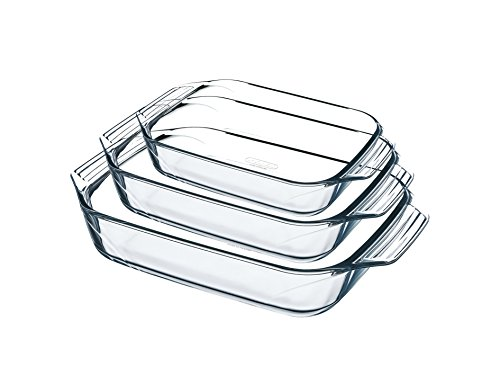 Pyrex 8023510 Set of 3 Borosilicate Glass Oven Plates – Extreme Resistance – Made in France