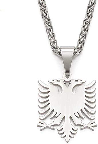 NC188 Collar Albania Águila Collares Pendientes Pulido Joyería de Acero Inoxidable Regalos étnicos para Mujeres Hombres