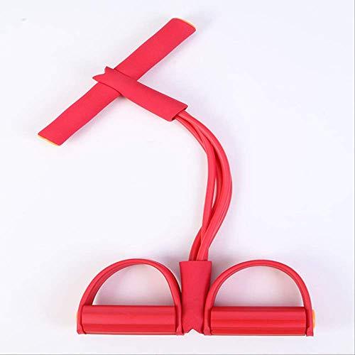 QWESD Tirador elástico de Tobillo con Pedal de 4 Tubos, Bandas de Resistencia para Adelgazar, Yoga, Fitness, 5 Colores en el Interior, tensión, Sentarse, Tirar, Cuerda, Rojo