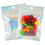 100 Pcs 3×4 Inch Resealable Smell Proof Bags Mylar Ziplock Bag Cute Packaging Sealed Aluminum Foil Pouch Mini Plastic Baggies Colored Clear Front Zip Lock for Lip Gloss Gummy, Holographic