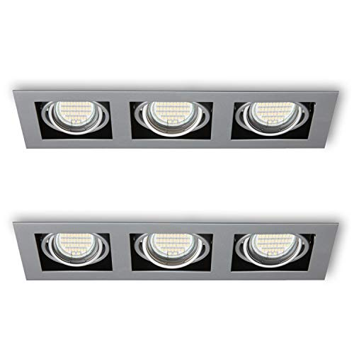 Einbauspots 2 x Kardanisch Q-43 (Grau, quadratisch) LED inkl. GU10 Fassung (15cm Anschlusskabel) Decken Einbaustrahler Deckenstrahler Deckenspots - schwenkbar