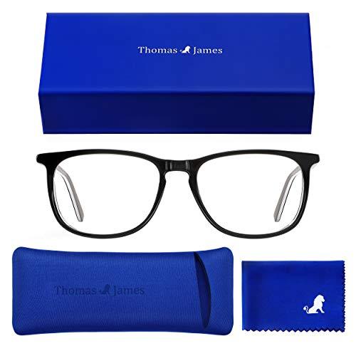 Thomas James Blaulichtfilter Brille | Premium Acetat Rahmen, Klaren Gläser | Für Frauen, Männer und Gamer - Computerbrille zum Blockieren von UV, Anti Müdigkeit, Anti Blaulicht, Kopfschmerzlinderung