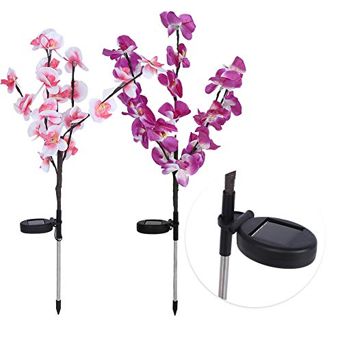 2 Unids/Set Luces de Árbol de Orquídeas Artificiales Led de Energía Solar para Decoración de Césped de Patio de Jardín