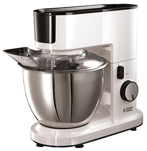 Russell Hobbs Aura 20355-56 Küchenmaschine (700 Watt 4,5 Liter) mit planetarischem Rührsystem, Edelstahl Rührschüssel, Fleischwolf, Gemüseschneider und Entsafter-Zubehör - weiß