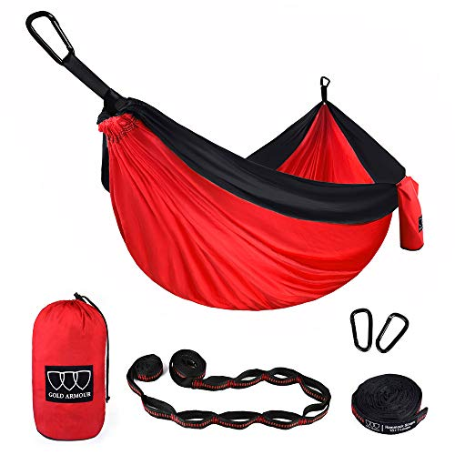 Gold Armour Camping Hammock - Extra Large Double Parachute Hammock (2 Tree Straps 16 Loops,10 ft Included) USA Brand Lightweight Nylon Mens Womens Kids, Camping Accessories Gear (Red/Black)