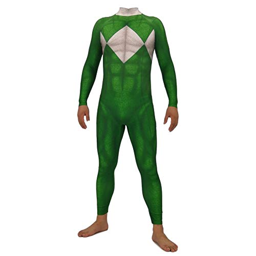Hope Power Rangers Erwachsene Kinder Anime Kleidung, Lycra Strumpfhosen Film Cosplay Kostüm Kostümfest Halloween Overall,Green-130~140 cm