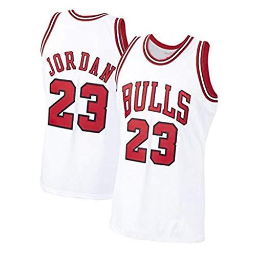 Michael Jordan Jersey Shirt, Chicago Bulls Camisetas De Baloncesto para Hombre, 23 Flying Man Malla Entrenamiento Diario Al Aire Libre Chaleco De Secado Rápido CAM White-XL
