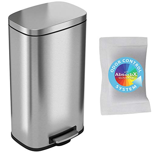 iTouchless SoftStep 8 Gallon Step Trash Can with Odor Control System & Removable Inner Bucket, Stainless Steel 30 Liter Pedal Garbage Bin for Office, Home and Kitchen