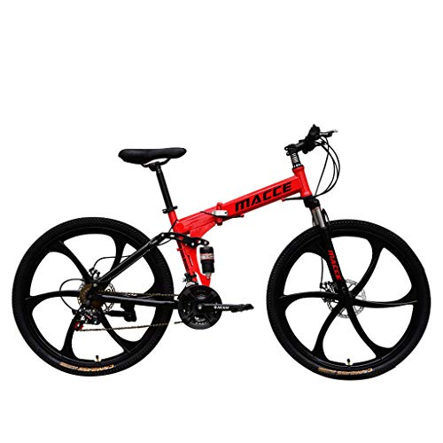 Dream-SZ Adult Mountain Bikes - 26 Inch Steel Carbon Mountain Trail Bike High Carbon Steel Full Suspension Frame Folding Bicycles 21 Speed Gears Dual Disc Brakes Damping Mountain Bicycle