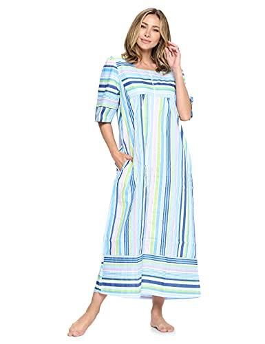Casual Nights Vestido de casa tejido con cremallera frontal para mujer   Mangas 3/4 Abrigo de casa largo plumero tumbona, Franjas...
