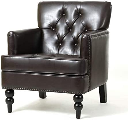 Best Christopher Knight Home Malone Leather Club Chair, Brown