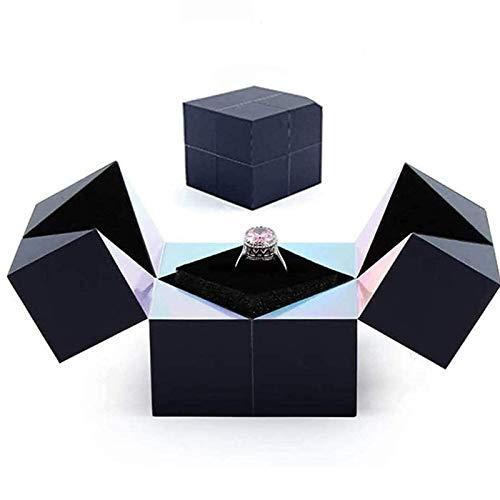 ZYANUGR Anillo de Plata Creativo, Pulsera y joyero de Rompecabezas Cubo mágico Giratorio Cajas de Anillo de Almacenamiento de propuestas Divertidas
