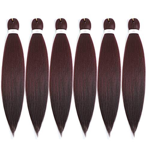 Pre-stretched Braiding Hair Easy Braid Professional Itch Free Synthetic Fiber Corchet Braids Yaki Texture Hair Extensions Braid Hair 6 packs (30'' #99J)