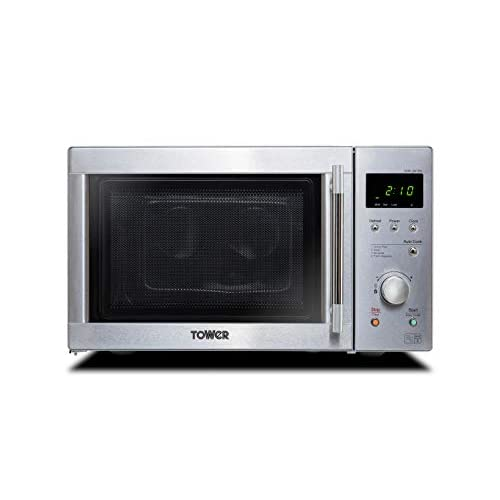 Tower KOR6N7RST Solo Digital Microwave with Dual Wave, Defrost, 800 W, 20 Litre, Stainless Steel